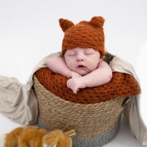 nouveau-né avec un bonnet de renard endormi dans un panier photographe naissance Houilles photographe nouveau-né Houilles photographe Houilles